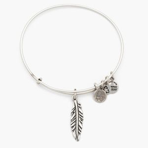 Alex and Ani Silver Feather Charm Bangle Bracelet